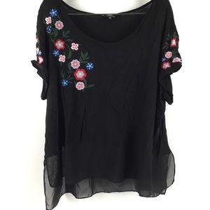 Relativity- black boho blouse w/ flower embroidery